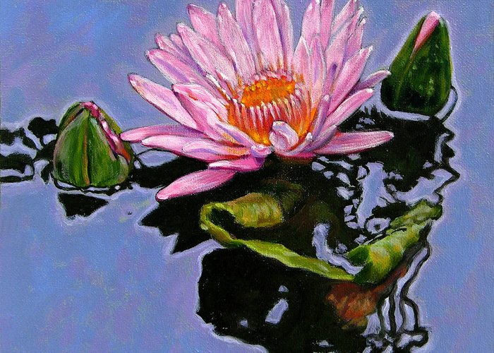 Water Lily Greeting Card featuring the painting Pink Lily With Dancing Reflections by John Lautermilch