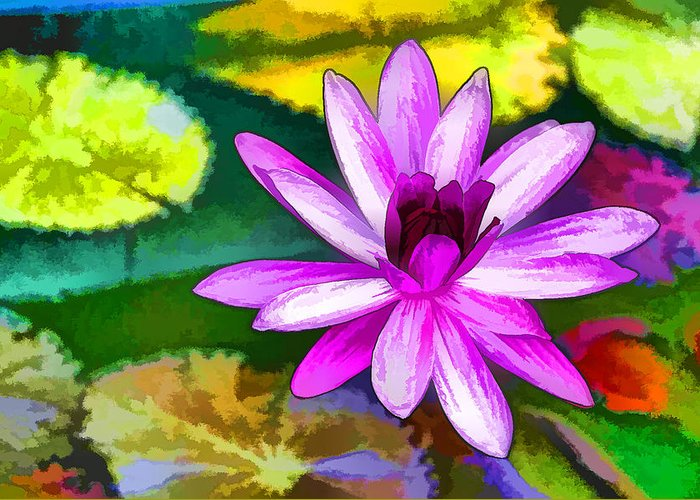 Pink Lotus Gallery Greeting Card featuring the painting Pink Lotus Gallery by Jeelan Clark