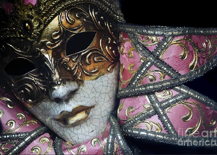 Black Greeting Card featuring the photograph Pink Mask by Oscar Gutierrez
