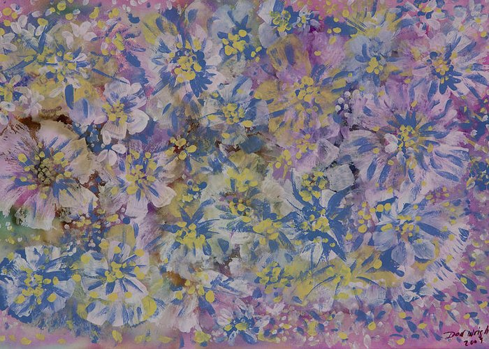 Opalescent Medium On Archival Paper Greeting Card featuring the painting Pink On Blue by Don Wright