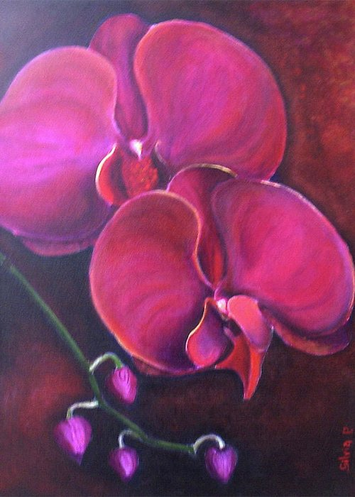 Orchid Greeting Card featuring the painting Pink Orchid by Silvia Philippsohn