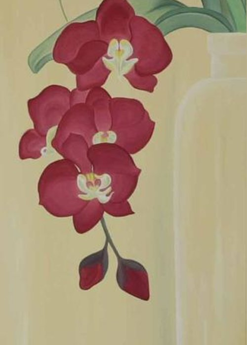 Marinella Owens Greeting Card featuring the painting Pink Orchide In A Vase by Marinella Owens