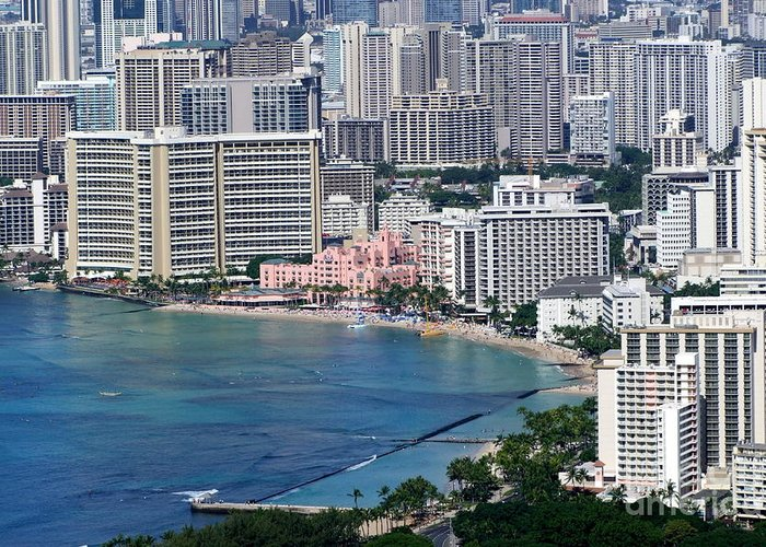 Pink Greeting Card featuring the photograph Pink Palace Waikiki Honolulu by Mary Deal