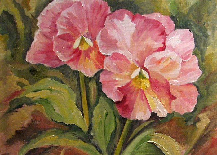 Garden Greeting Card featuring the painting Pink Pansies by Cheryl Pass