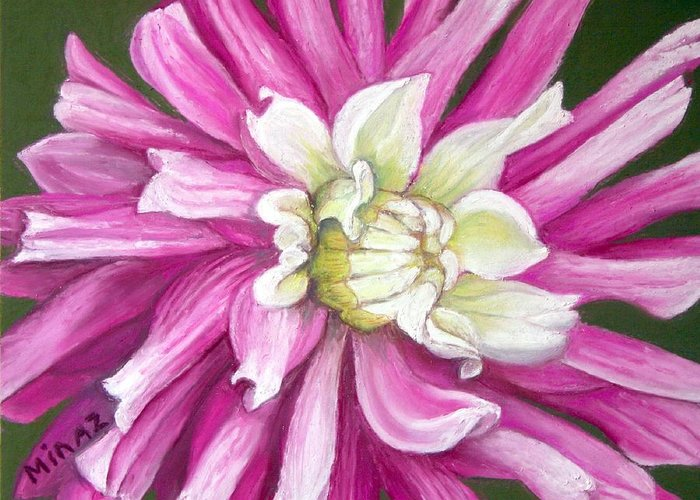 Floral Greeting Card featuring the painting Pink Petal Blast by Minaz Jantz