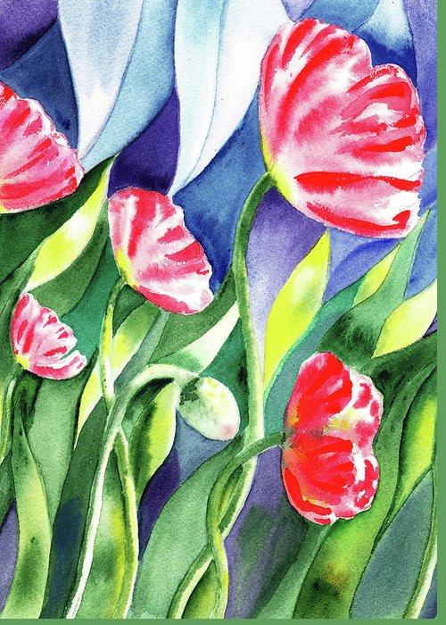 Poppy Greeting Card featuring the painting Pink Poppies Batik Style by Irina Sztukowski