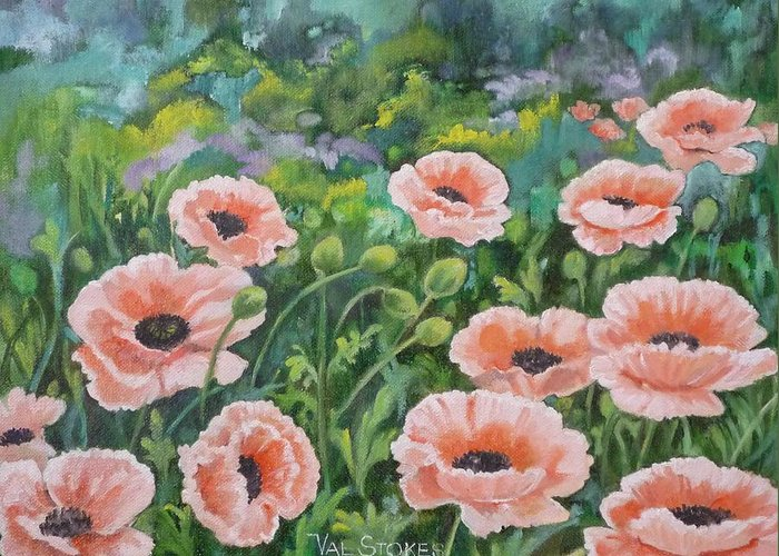 Flowers Greeting Card featuring the painting Pink Poppies by Val Stokes