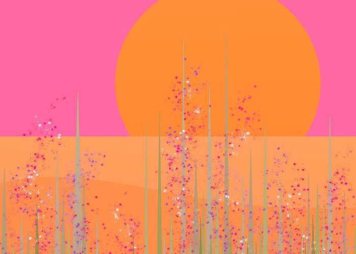 Pink Prairie Flowers Greeting Card featuring the digital art Pink Prairie Flowers by Val Arie