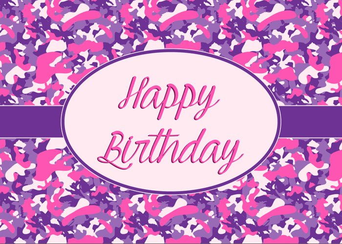 Pink Purple Camo Birthday Greeting Card For Sale By Jh Designs