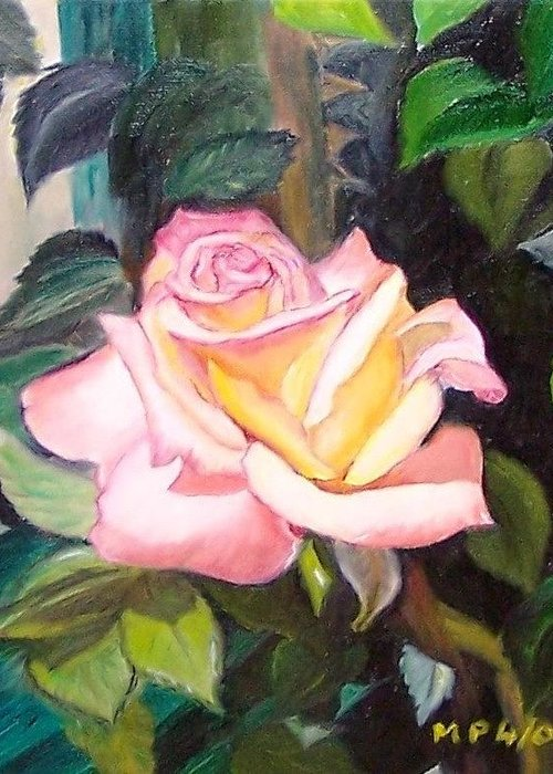 Floral Greeting Card featuring the painting Pink Rose by Madeleine Prochazka