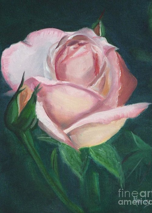 Rose Greeting Card featuring the painting Pink Rose by Mendy Pedersen