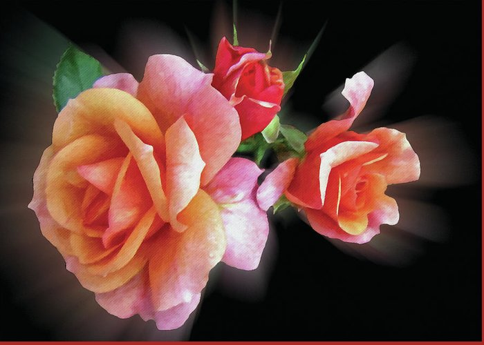 Flowers Greeting Card featuring the digital art Pink Roses by Angel Glen
