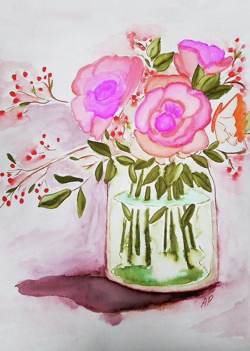 Greeting Card featuring the painting Pink Roses By Toni by Pamela Jessiman