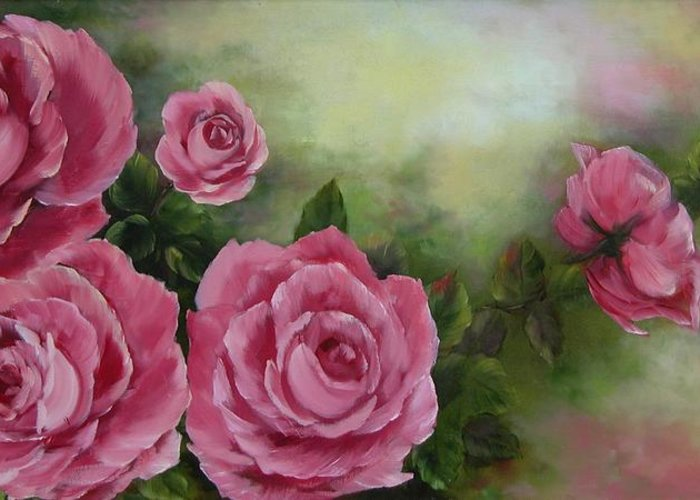 Oil Painting Greeting Card featuring the painting Pink Roses by Joni McPherson