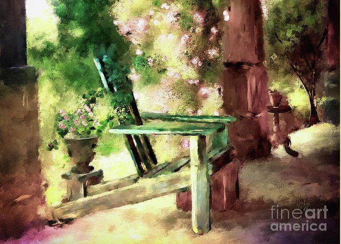 Porch Greeting Card featuring the digital art Pink Roses On The Porch by Lois Bryan