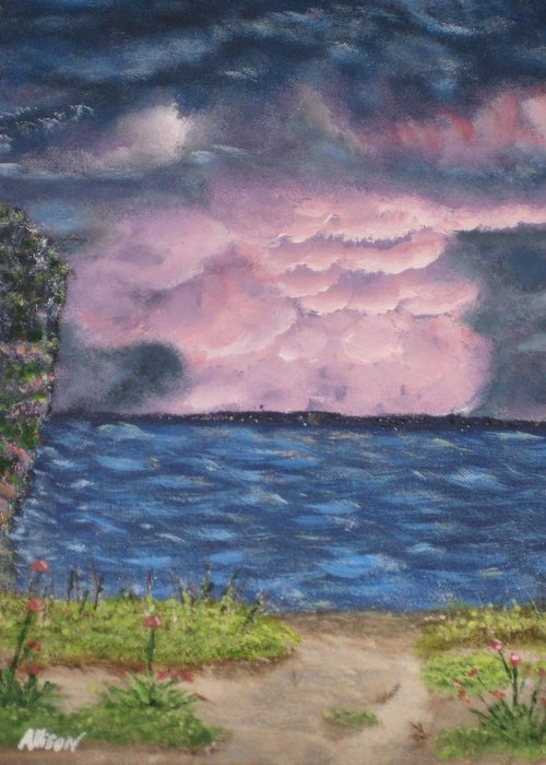 Sky Greeting Card featuring the painting Pink Sky by Allison Prior