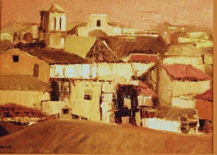 Rooftops Greeting Card featuring the painting Pink Sky Granada by Renee Rowe