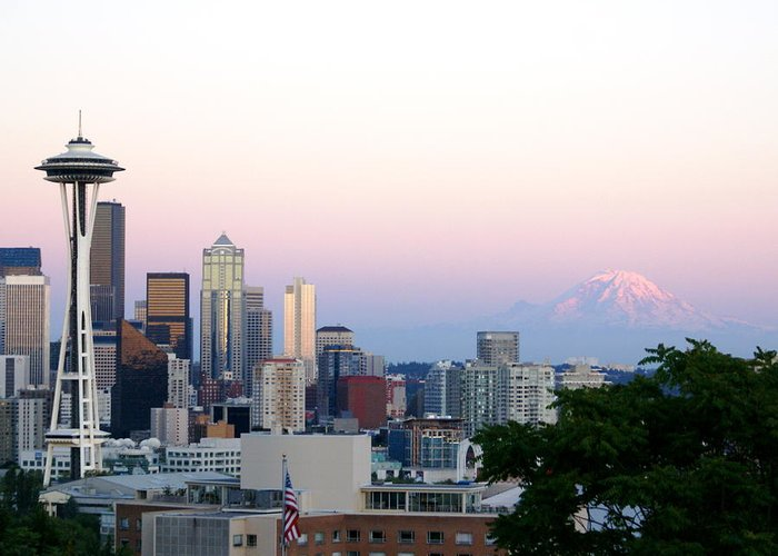 Cityscape Greeting Card featuring the photograph Pink Sky Over Mount Rainier by Sonja Anderson