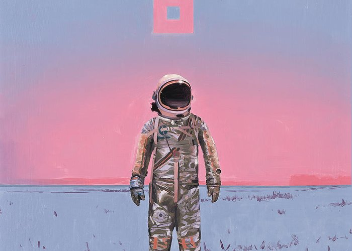 Space Greeting Card featuring the painting Pink Square by Scott Listfield