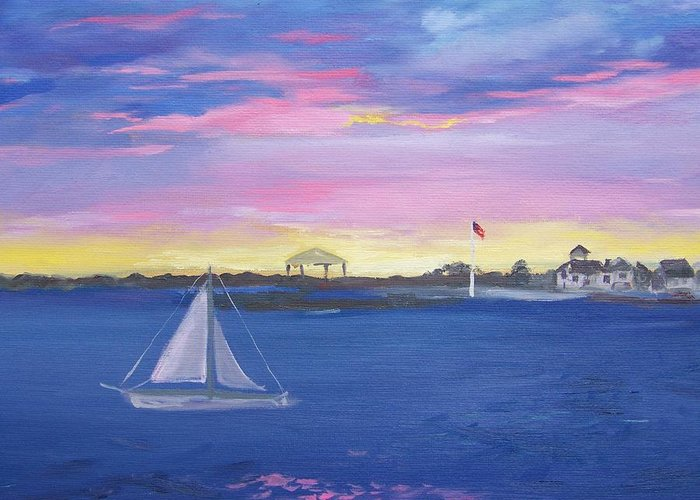 Pink Seascape Greeting Card featuring the painting Pink Sunset by Georgeanne Wayman