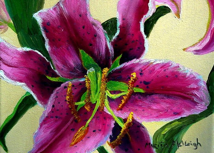 Pink Flower Greeting Card featuring the painting Pink Tiger by Marita McVeigh