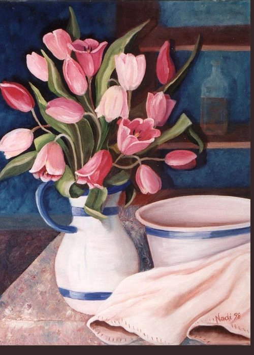 Pink Tulips Greeting Card featuring the painting Pink Tulips by Renate Nadi Wesley