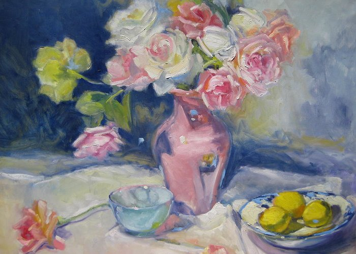 Roses Greeting Card featuring the painting Pink Vase by Susan Jenkins