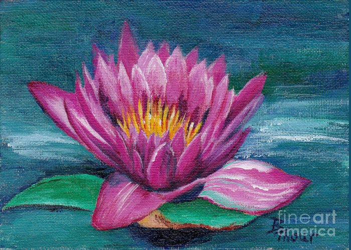 Water Lily Greeting Card featuring the painting Pink Water Lily Original Painting by Brenda Thour