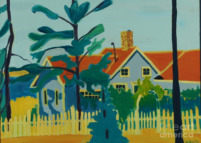 Beach Greeting Card featuring the painting Pinkys House On Monhegan by Debra Bretton Robinson