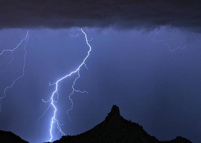 Pinnacle Peak; North Scottsdale; Arizona; Phoenix; Desert; Lightning; Storms; Striking; Bolts; Landscapes; Nature; Stock Images; Wall Art; Photography; Weather; Sky; Skyscape; Tmed Exposure; Posters; Canvas Prints; Canvas Art; Striking-photography.co Greeting Card featuring the photograph Pinnacle Peak Lightning by James BO Insogna