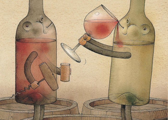 Wine Cellar Red White Greeting Card featuring the painting Pinot Noir And Chardonnay by Kestutis Kasparavicius