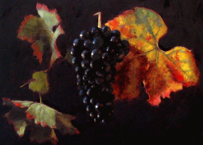 Wine Still Life Greeting Card featuring the painting Pinot Noir Grape With Autumn Leaves by Takayuki Harada