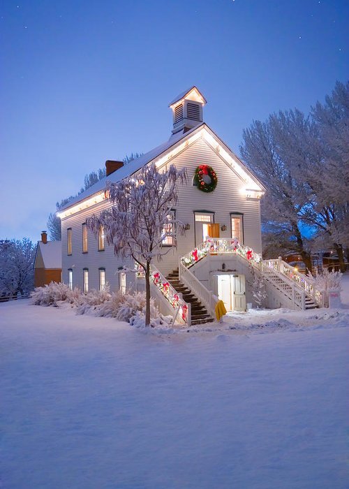 Christmas Greeting Card featuring the photograph Pioneer Church At Christmas Time by Utah Images