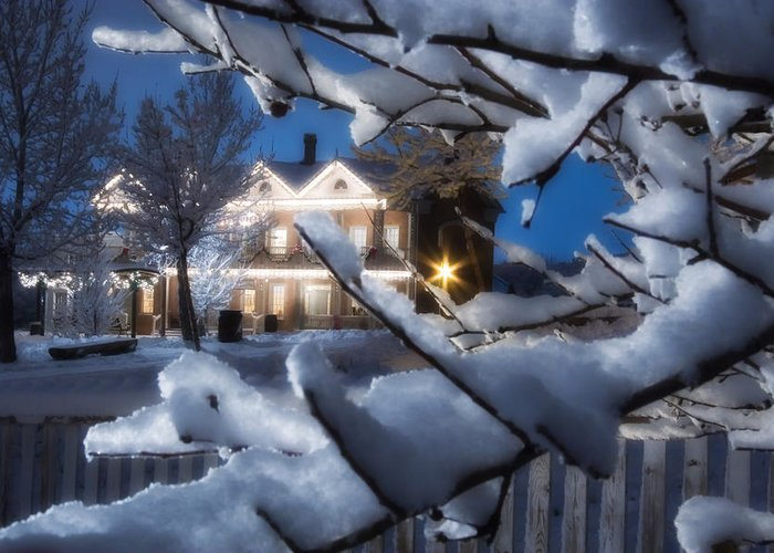 Christmas Greeting Card featuring the photograph Pioneer Inn At Christmas Time by Utah Images