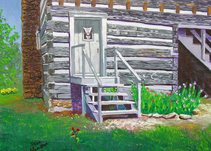 Log Cabin Greeting Card featuring the painting Pioneer Village II by Stan Hamilton