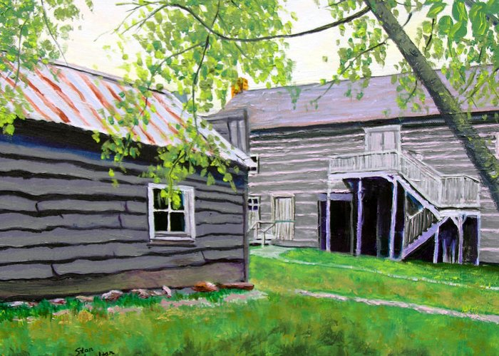 Log Cabin Greeting Card featuring the painting Pioneer Village One by Stan Hamilton