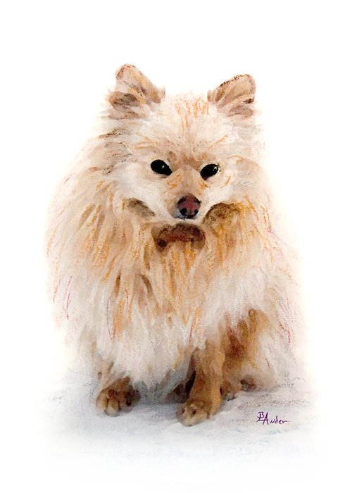 Pomeranian Greeting Card featuring the pastel Pip by Brent Ander
