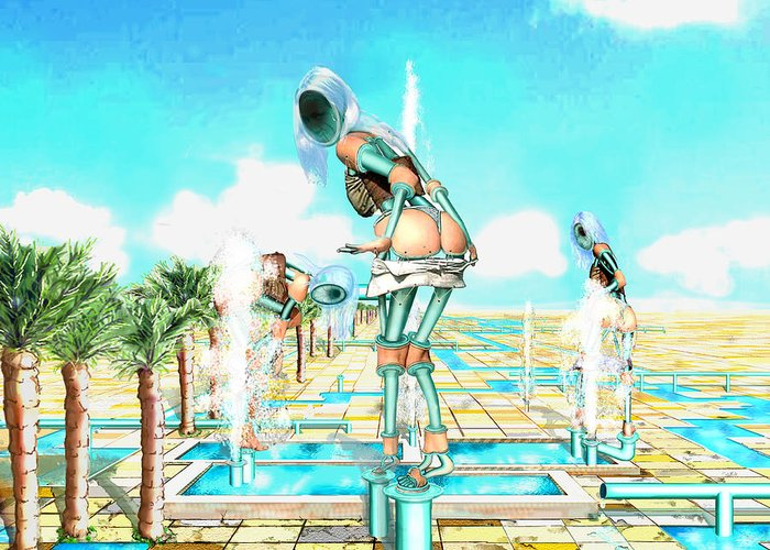 Pipe Figures Creating On Oasis Greeting Card featuring the digital art Pipe Human Figures Creating On Oasis Number One by Leo Malboeuf