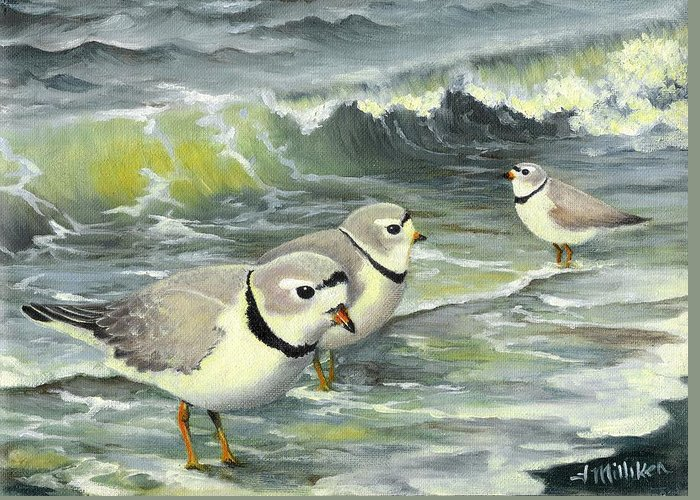 Piping Plovers Greeting Card featuring the painting Piping Plovers At The Shore by Tara Milliken