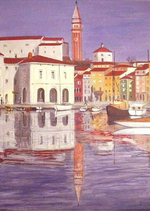 Haus Greeting Card featuring the painting Piran by Anthony Meton