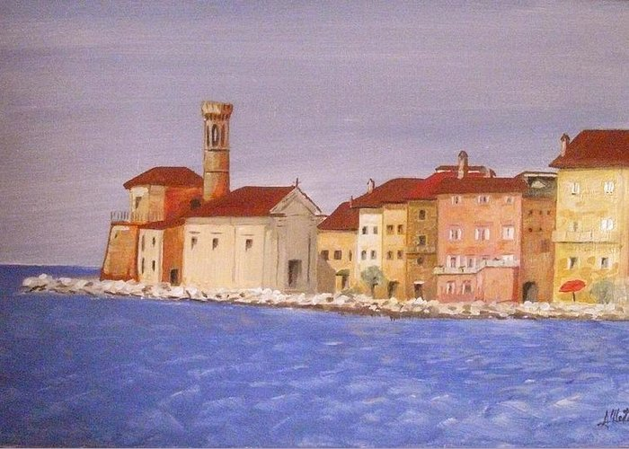 Lighthouse Greeting Card featuring the painting Piran The Lighthouse by Anthony Meton
