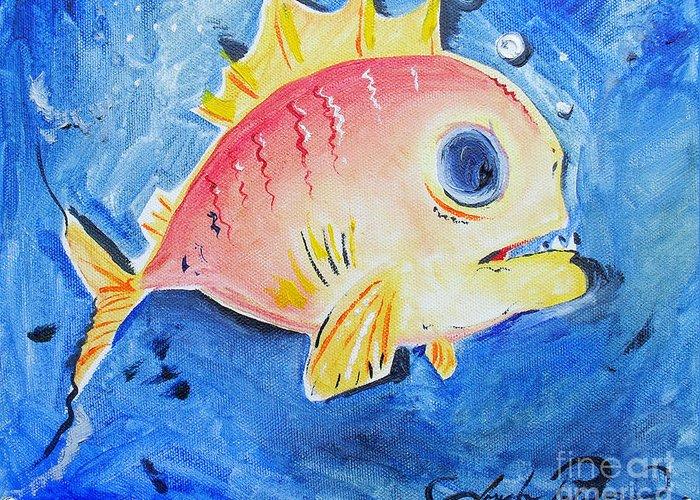 Fish Greeting Card featuring the painting Piranha Art by Joseph Palotas