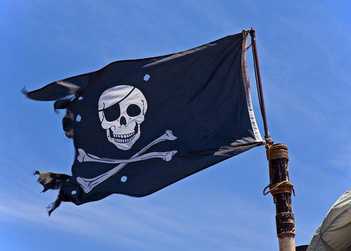 Pirate Flag Skull Cross Bones Greeting Card featuring the photograph Pirate Flag Skull And Cross Bones by Garry Gay