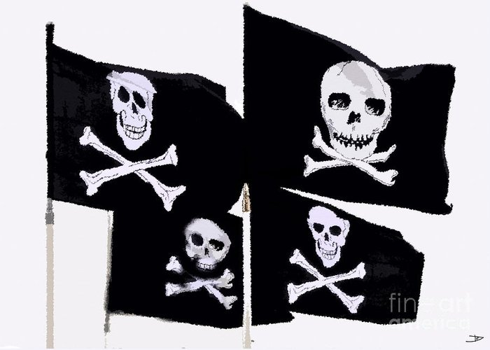 Pirate Flags Greeting Card featuring the painting Pirate Flags by David Lee Thompson
