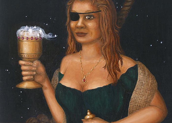 Fantasy Greeting Card featuring the painting Pirate Queen by Roz Eve