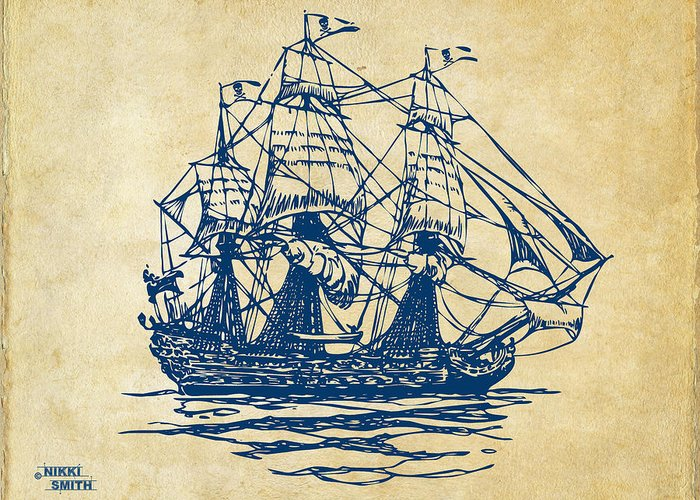 Pirate Ship Greeting Card featuring the drawing Pirate Ship Artwork - Vintage by Nikki Marie Smith