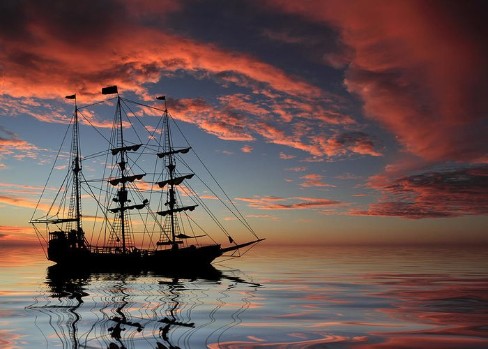 Pirate Ship Greeting Card featuring the photograph Pirate Ship At Sunset by Shane Bechler