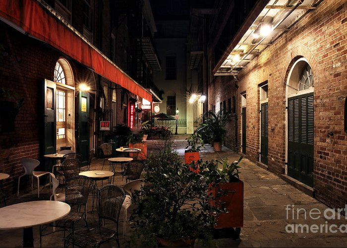 Pirates Alley At Night Greeting Card featuring the photograph Pirates Alley At Night by John Rizzuto