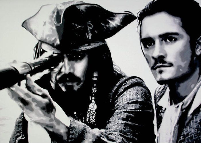 Johnny Depp Greeting Card featuring the painting Pirates Of The Carribean by Luis Ludzska