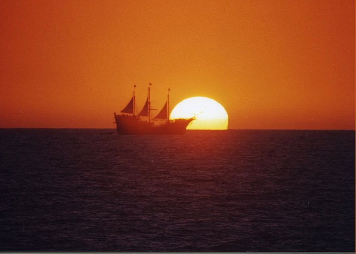 Sunset Photo's Greeting Card featuring the glass art Pirateship Sunset by Brent Easley